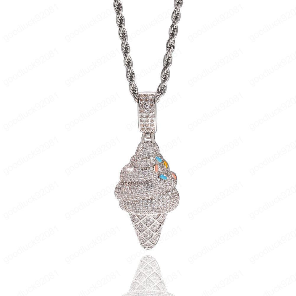Colgante, collar helado collar plateado plata colgante Crema de Hip Hop joyería nuevo diseño personalizado de hielo