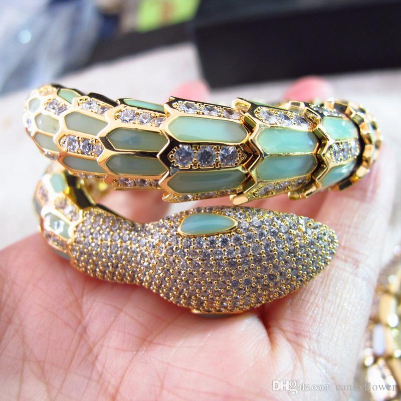 Fashion NEW high quality cubic zirconia paved ENAMEL Animal snake CUFF bangle 18K gold plated bracelets for women