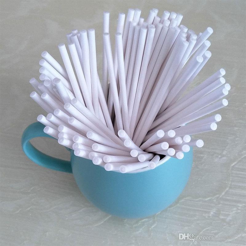 100pcs/Lot DIY Lollipop Stick 4*152MM Food Grade Paper Sucker Sticks Cake Pop Sticks For Candy Chocolate Sugar Pole 10 Lots DHL