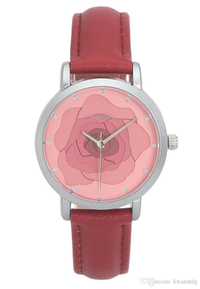 ساعة نافيسا للسيدات بتصميم فريد من نوعه بتصميم دائري وردة بتصميم زهرة اليابان كوارتز احمر جلد سويدي معصم ساعة يد NA-0204