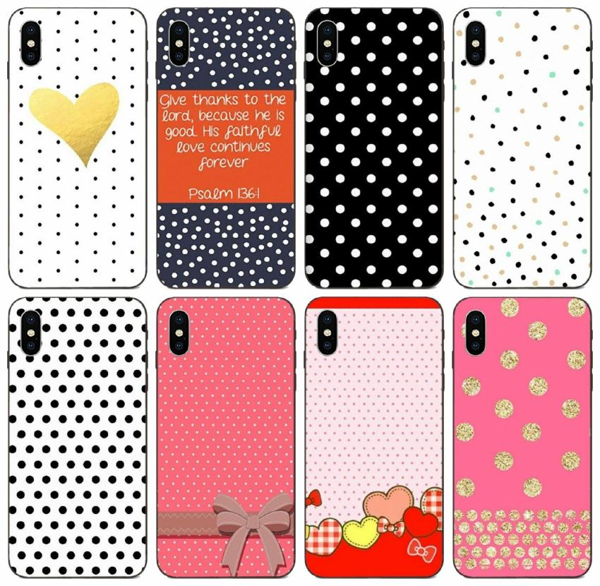 [TongTrade] Polka Dots Design Case For iPhone 12 8 7 6s Plus X XS 11 Pro Max Case Samsung A10 A10E A10S Honor Note 10 HTC One M8 1Pcs 10Pcs