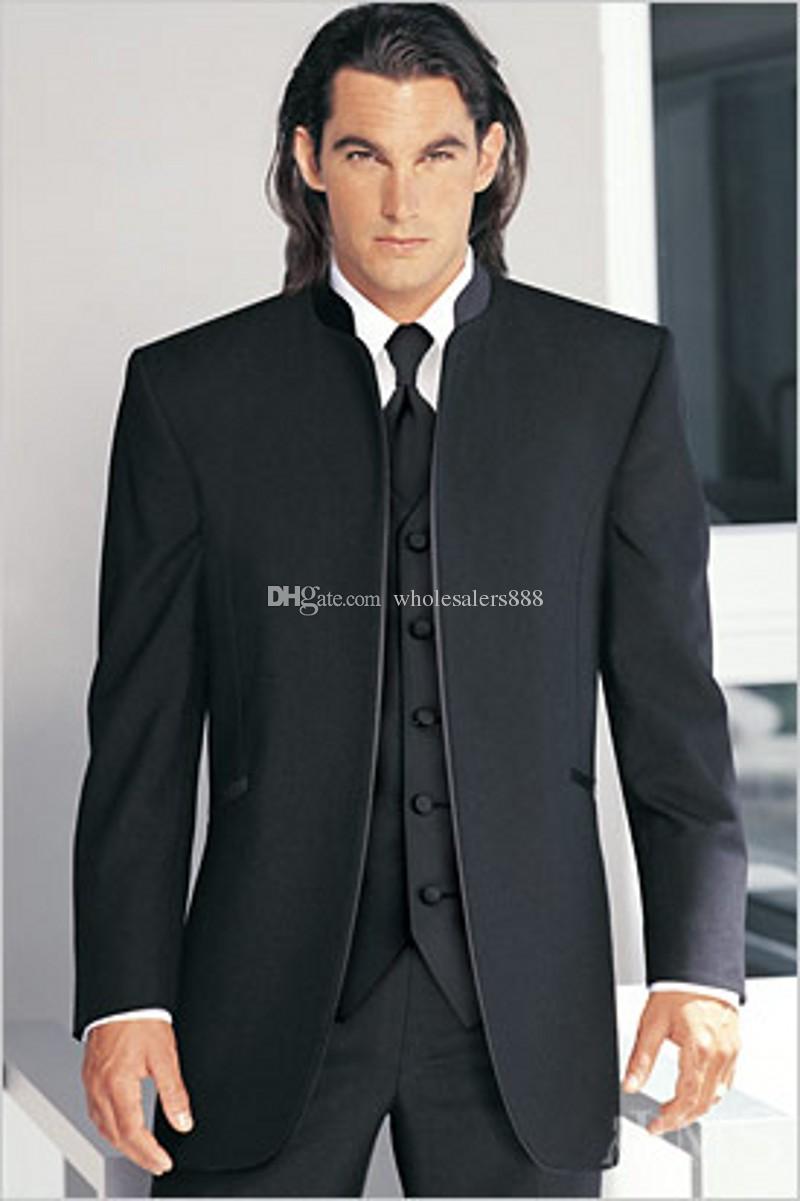 Custom Made GroomsMen Black Bruidegom Tuxedos Mandarin Revers Beste Man GroomsMen Mannen Bruiloft Past Bruidegom (jas + Broek + Tie + Vest) J38