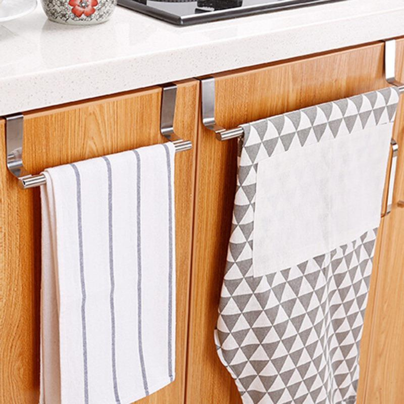 Retro One Over Door Extendable Towel Rack Stainless Steel Cabinet Towel Bar For Bathroom And Kitchen
