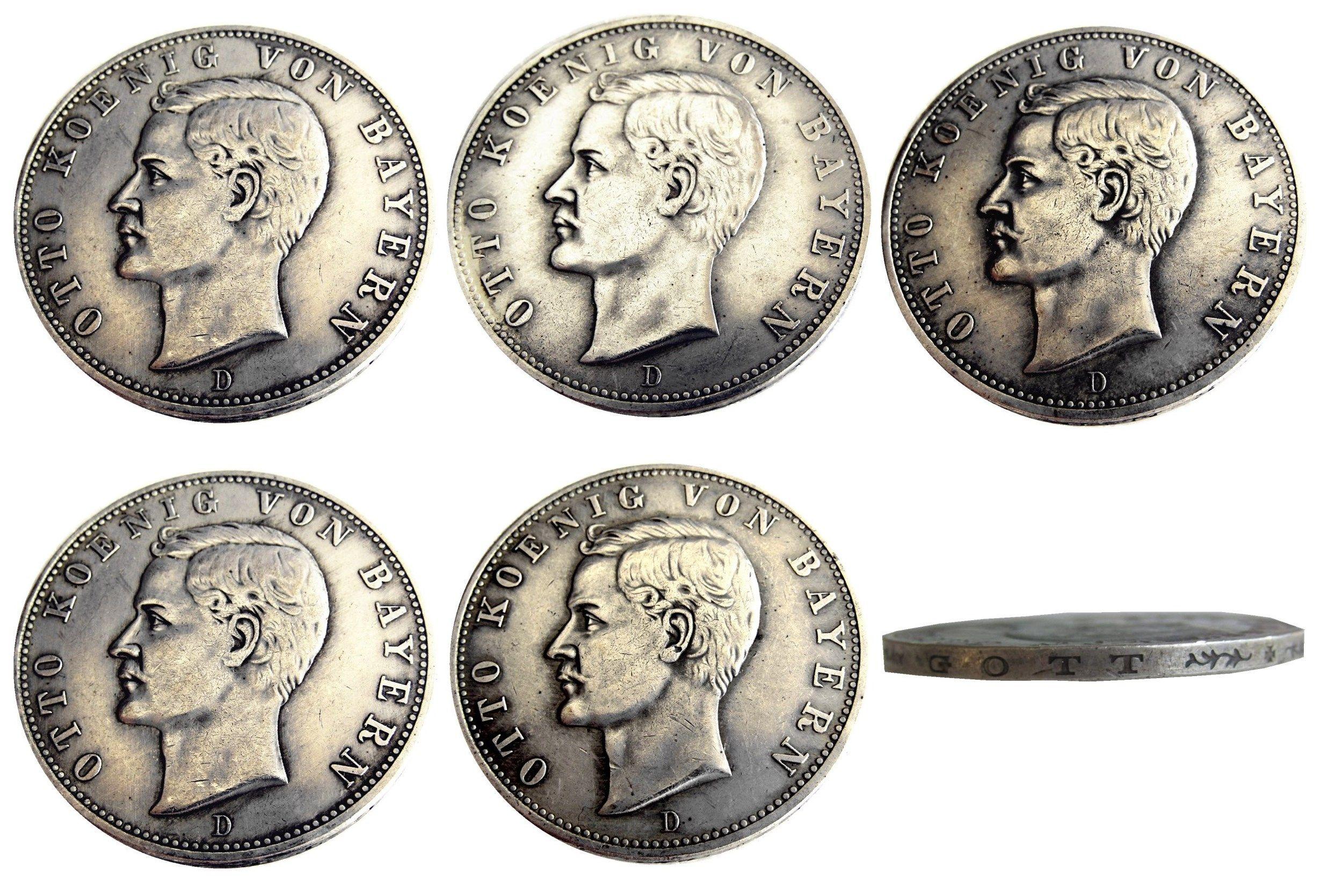 독일 독일 바이에른 동전 5 마크 실버 1896D - 1908D 5PCS 오토 복사 동전 도매