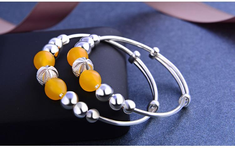 marca de qualidade superior pulseiras de prata novas crianças de prata pulseira de S990 finos com quartzo topázio jóias de prata vendedor de fábrica DDS0442