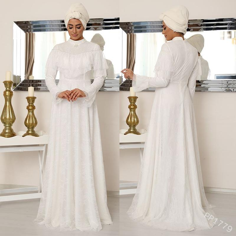 WEPBEL Frauen lang Maxi Kleid Naher Osten Ethnic-Kleid-Spitze-Normallack-Fußboden-Längen-volle Hülsen mit hohen Taille Muslim Abaya