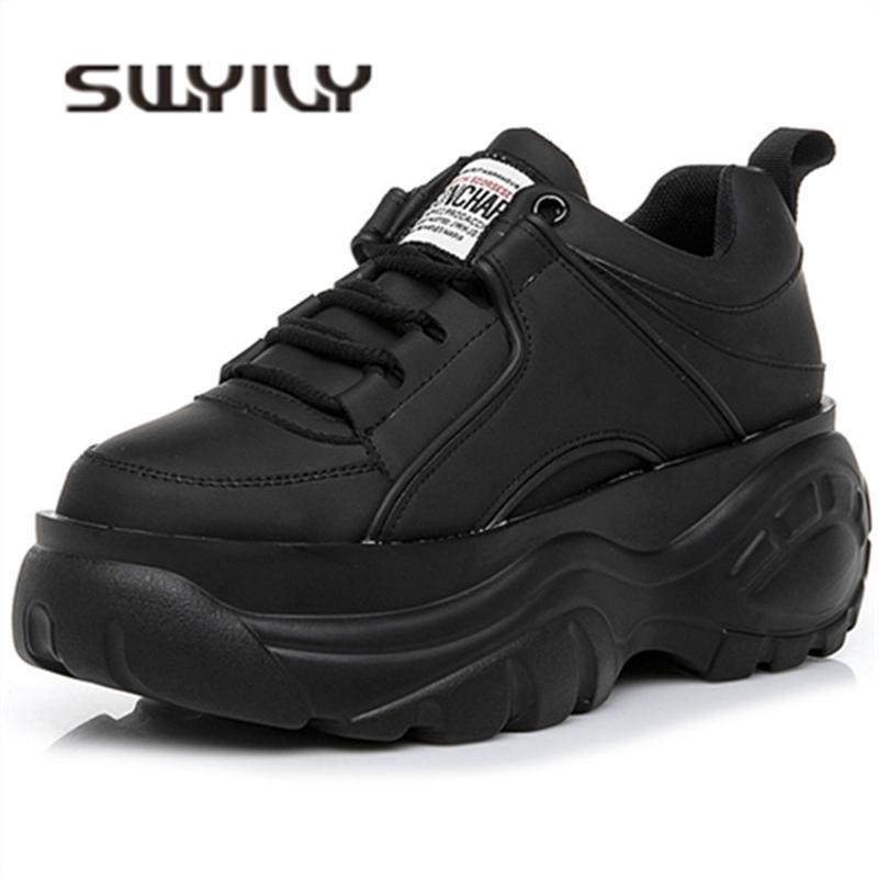 SWYIVY Chaussures Femme Haute plateforme Chaussures 2019 Chaussures Femme Printemps Casaul Noir Blanc Chaussures de sport respirant Zapatos Casual Mujer CJ191212