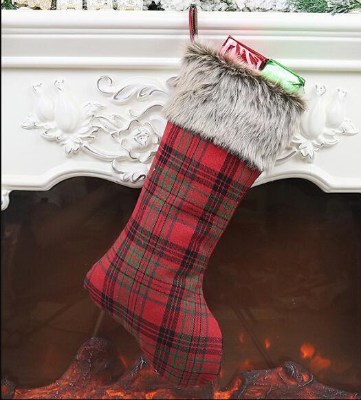 Felpa Calcetines Partido Colgante decoraciones de Navidad de la guinga de Navidad Conjuntos de carretera Calcetines Bolsas de regalo