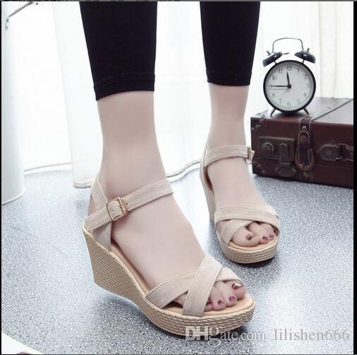 Новый стиль сандалии на склоне пятки водонепроницаемая платформа толстая подошва черная рыба рот крест модные сандалии