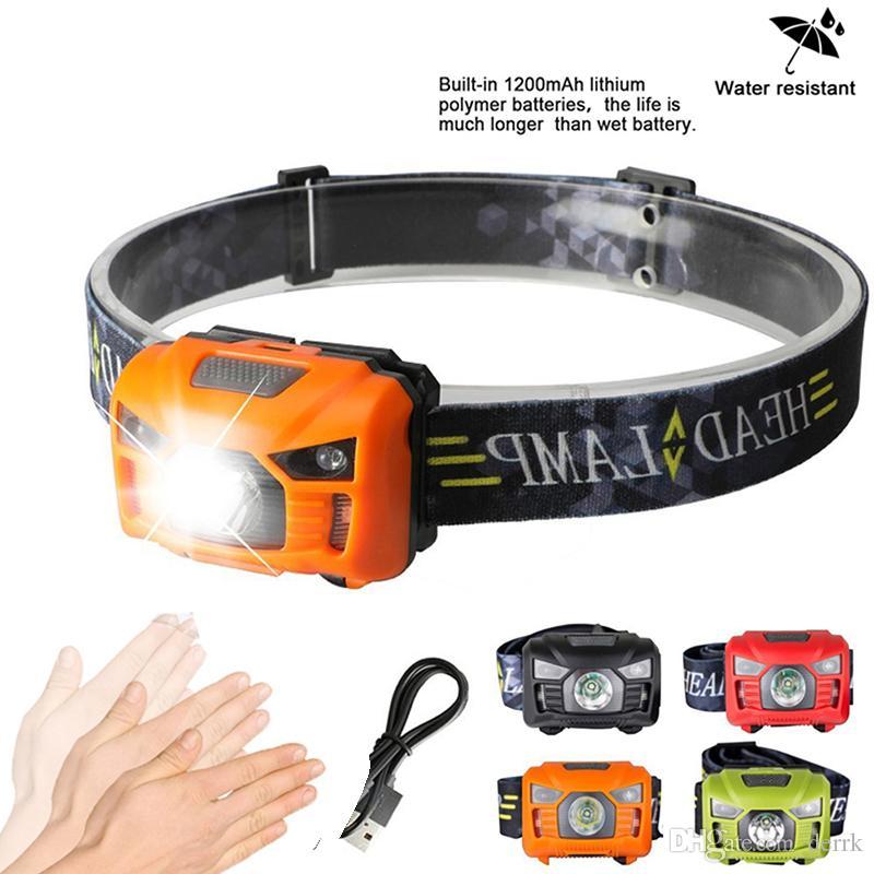 5 와트 LED 바디 모션 센서 헤드 램프 미니 헤드 라이트 충전식 야외 캠핑 손전등 헤드 토치 램프 USB