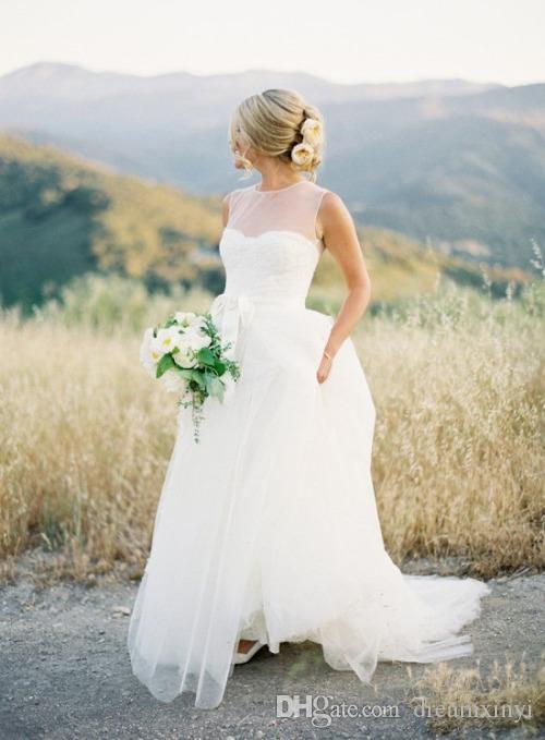 Einfache Eine Linie Brautkleider 2019 Neue U-ausschnitt Bodenlangen Applique Tull Sleeveless Hochzeitsgast Kleid Brautkleider
