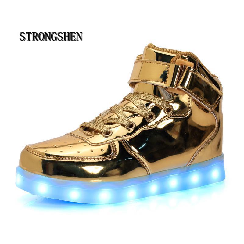Strongshen Led 어린이 신발 2018 Usb 충전 바구니 신발 빛으로 어린이 캐주얼 Boysgirls 빛나는 스 니 커 즈 골드 실버 Y190523