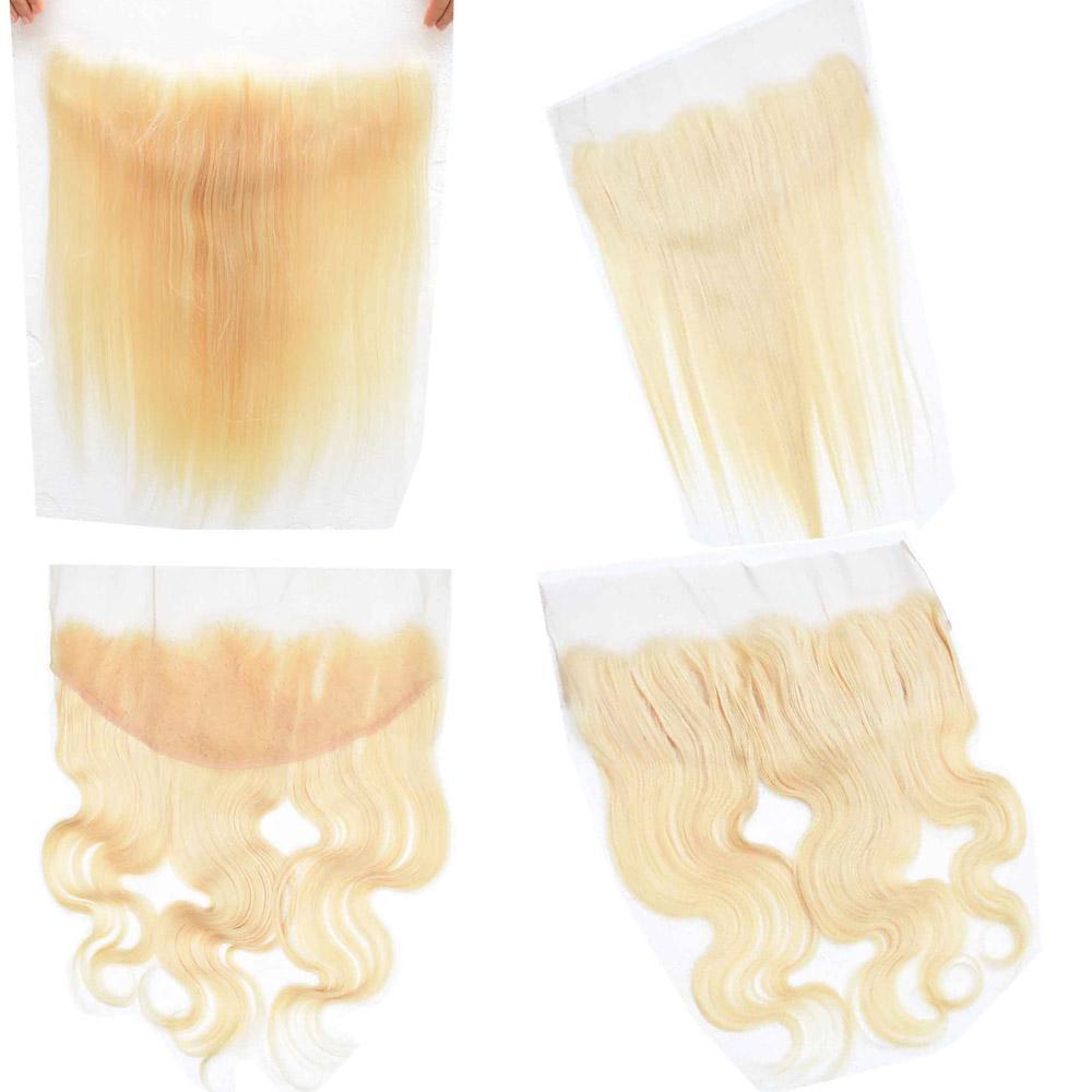 10А Девы 613 Светлые Европейские Волосы Реми 13x4 Кружева Фронтальная Закрытие Объемная Волна Прямые Отбеленные Узлы Натуральные Шпильки 8 дюймов - 20 дюймов
