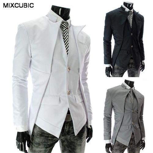 la moda de primavera MIXCUBIC estilo de Corea del otoño hombres del juego Diseño asimétrico de negocios ocasionales adelgazan traje de color sólido para los hombres M-2XL
