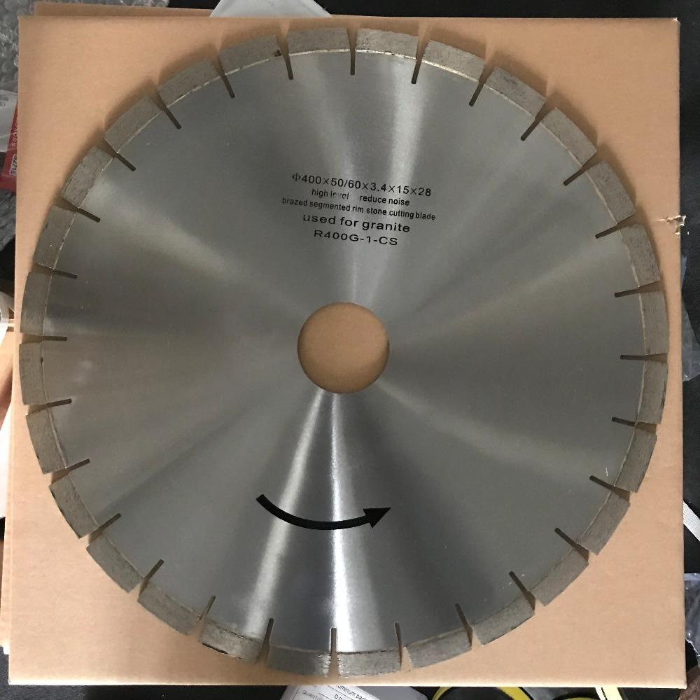 Diamant-Sägeblatt 16 Zoll (400 mm) Silent-Kern für Granit-Stein-Trennscheibe Segmenthöhe 15 mm Innenbohrung 50/60 mm