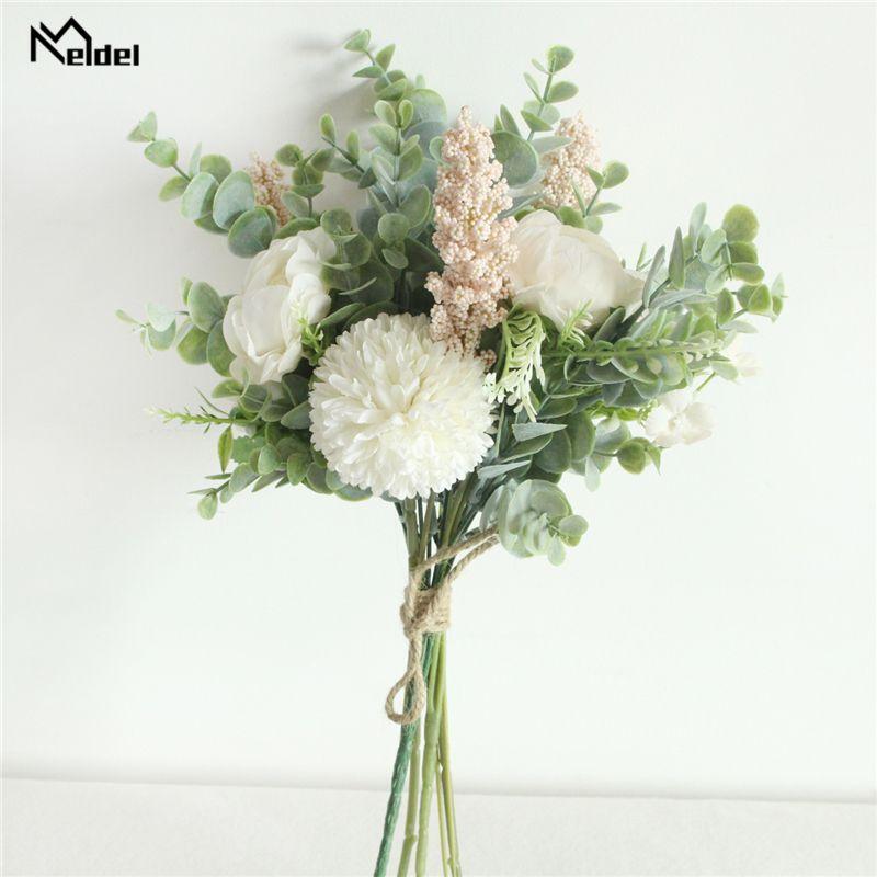Meldel de fleurs artificielles bouquet de mariage en soie Rose Pivoine Pompon fille fleur de demoiselle d'honneur Bouquet pourpre Eucalyptus Feuille Décoration d'intérieur