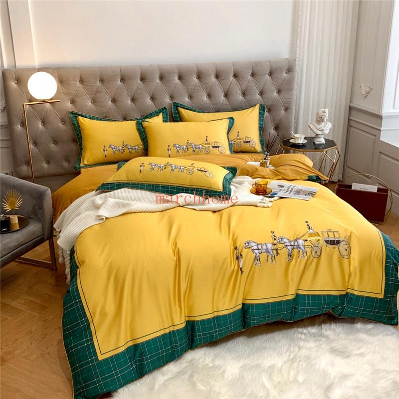 2020 Spring Summer New Trend Digital Printed Long Cotton Quilt Cover Trendy Trendy Horse Style Series Yellow Quilt Cover Simple and Stylish