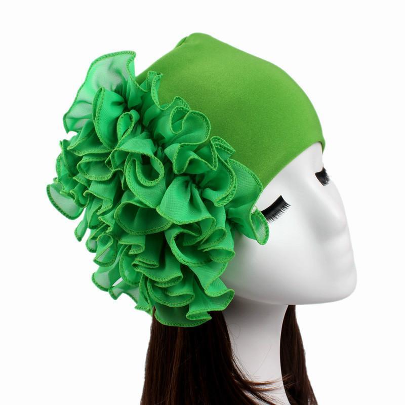 Neue Frauen-Chiffon- Blumen-Hut-Frauen-Hijabs Turban elastischer Stoff Kopf-Kappe Damen-Haar-Zusätze Muslim Schale Mütze Großhandel
