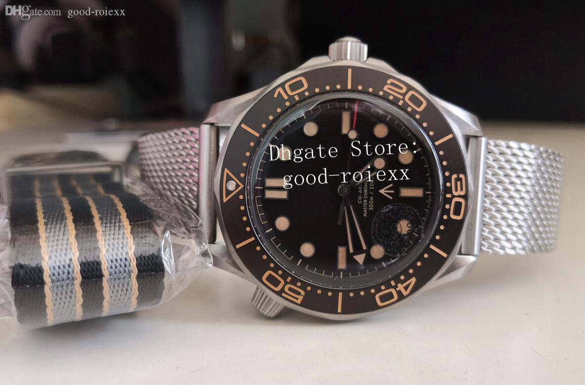 Muy caliente 42mm Hombre VS Automatic CAL.8806 Reloj de titanio Hombres James Bond 007 Flecha ancha No Tiempo para morir Nylon Strap Dive 300m Watches