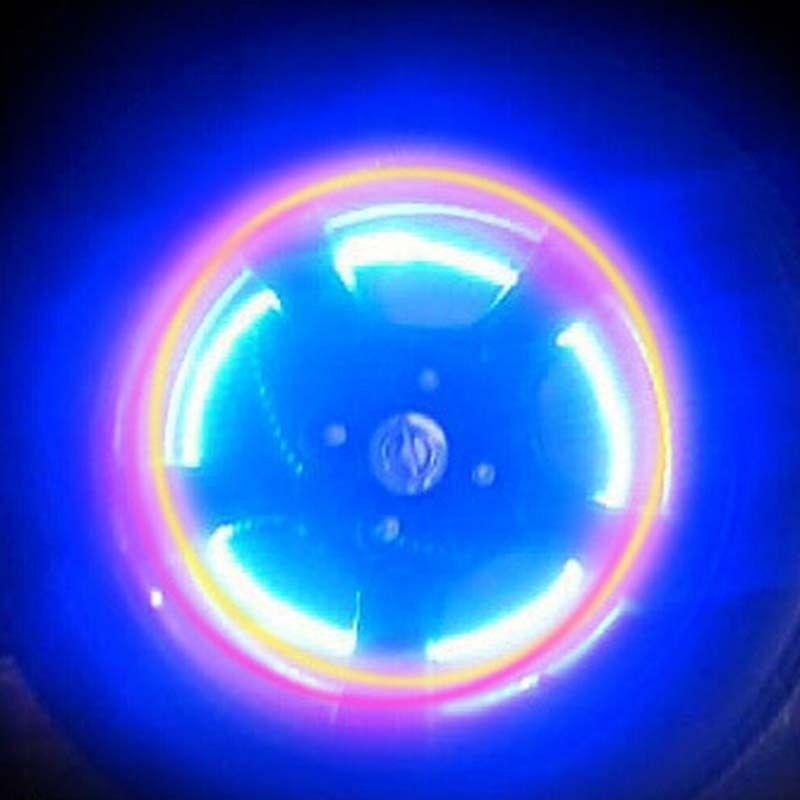 16pcs LED Wheel Tire Tyre Valve Caps Blue Neon Light for Car Motorcycle Bike 8