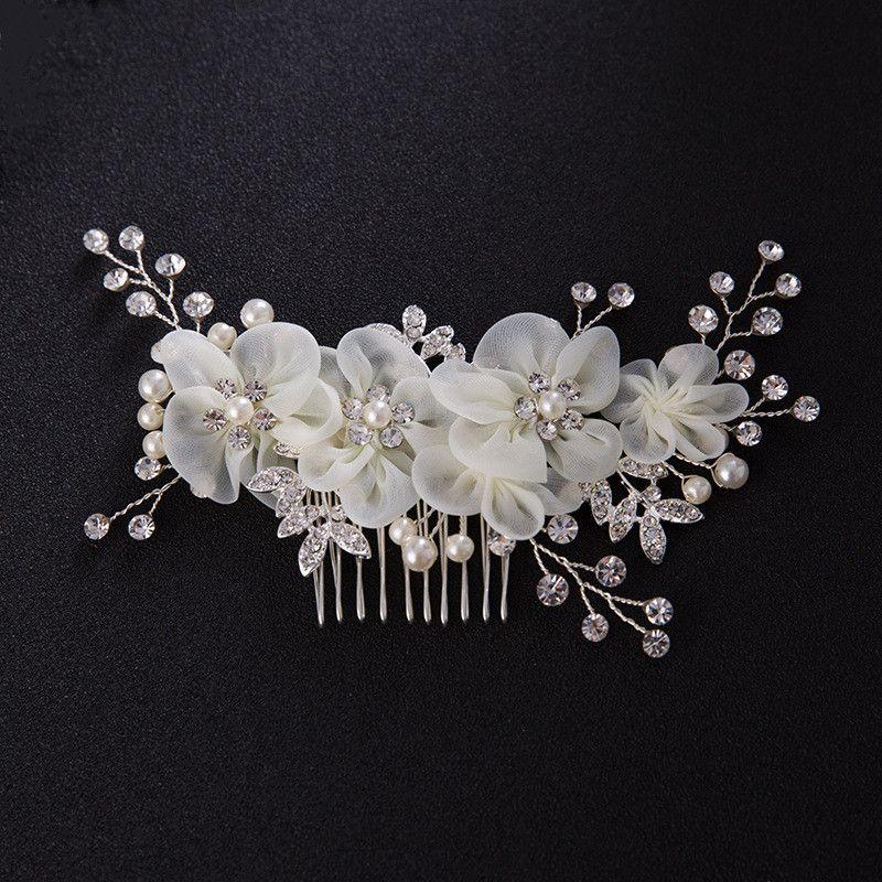 Flor De Pérola De Cristal Do Cabelo Do Casamento Pente de Strass Acessórios Para O Cabelo Da Noiva Pinos Tiaras Planta Padrão Mulheres Jóias