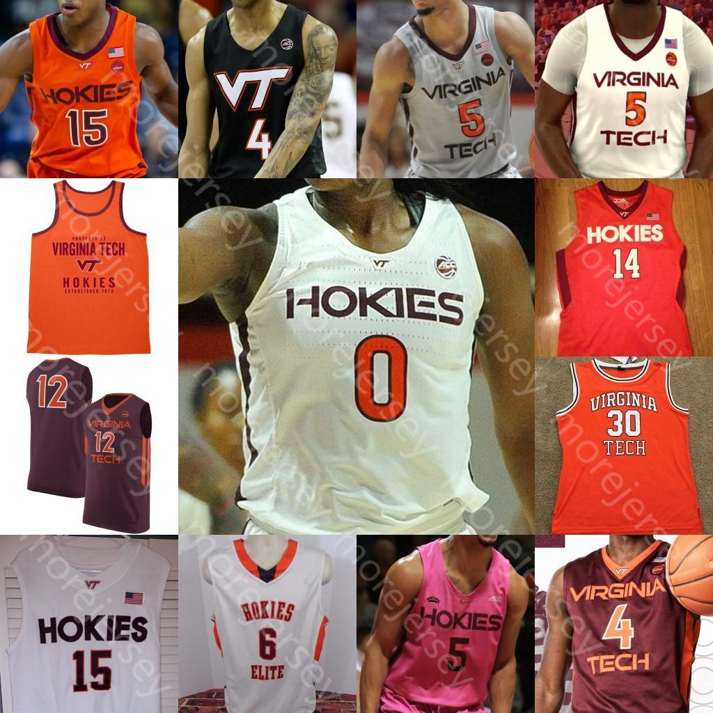 2021 Custom 2020 Virginia Tech Hokies Basketball Jersey NCAA ...
