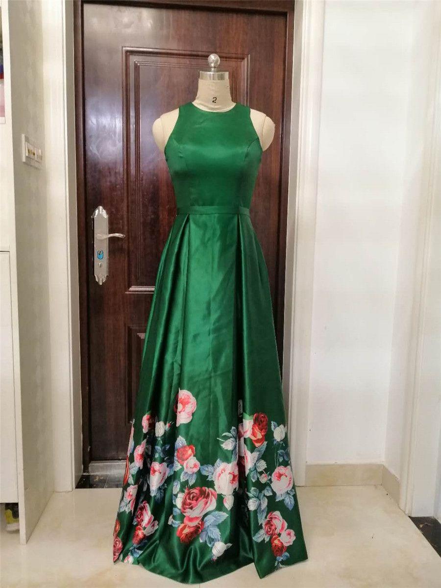 Nueva llegada 2019 Jewel Collar Sexy Back A Line Vestidos de noche Vestidos de noche largos formales por encargo para vestido de fiesta