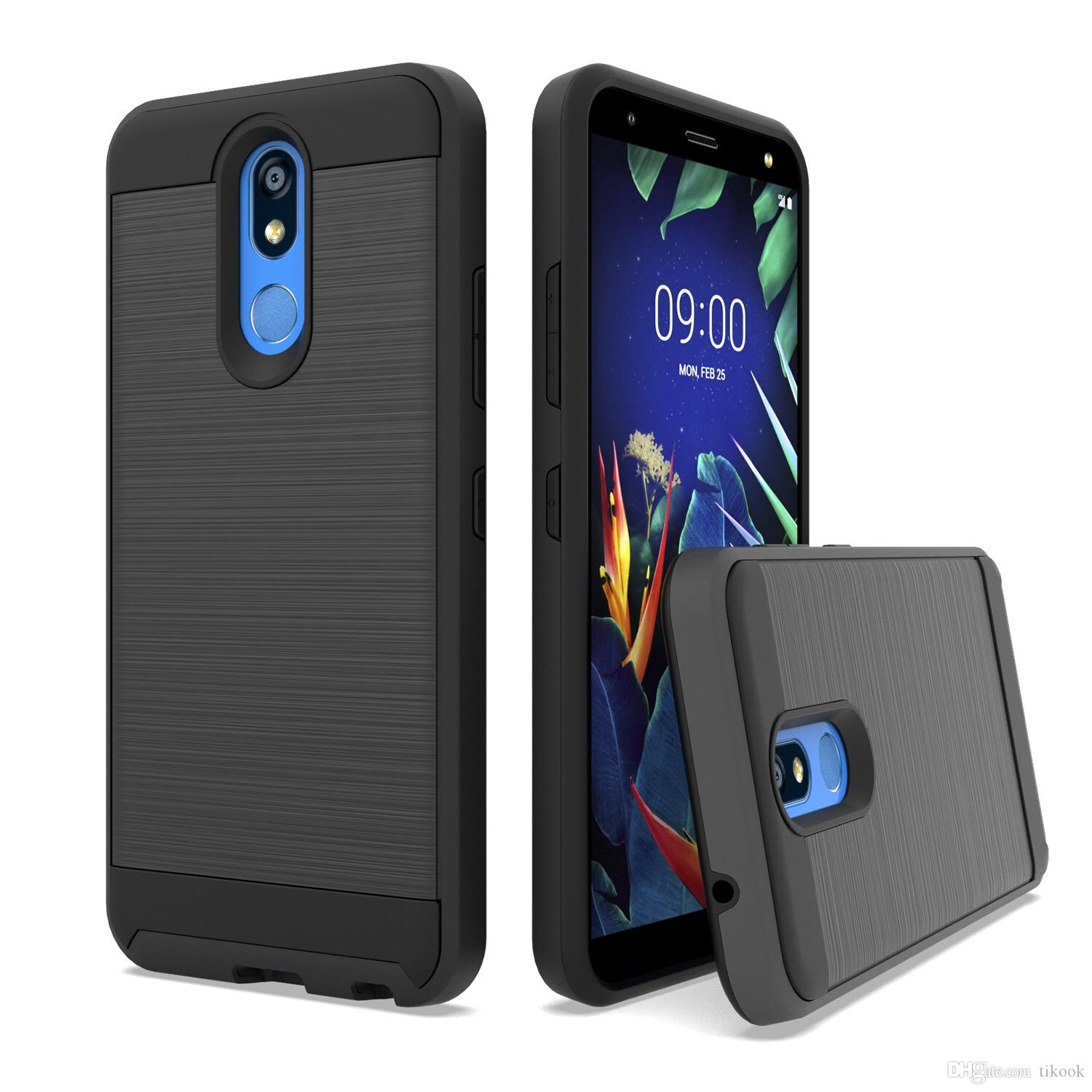 Metal Texture Dual Layer Protective Case for J2 core/J260/J3 2018/J7 2018/A8 2018 TPU+PC Material Brushed for LG K40 MetroPCS