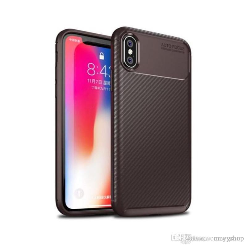 Fibra de Carbono para iphone 11 pro Max XR XS Max X 6s 7 8 Plus Caixa à prova de choque suave silicone TPU Capa para samsung note9 S8 S9 S10 Nota 10