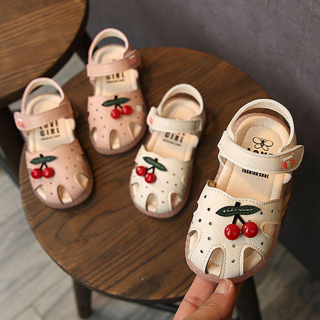 Sandales d'été pour bébé pour les filles tout-petits bébés enfants bébé petites filles Princesse Cerise fermé Toe Shoes Sandales princesse Walkers Y200623