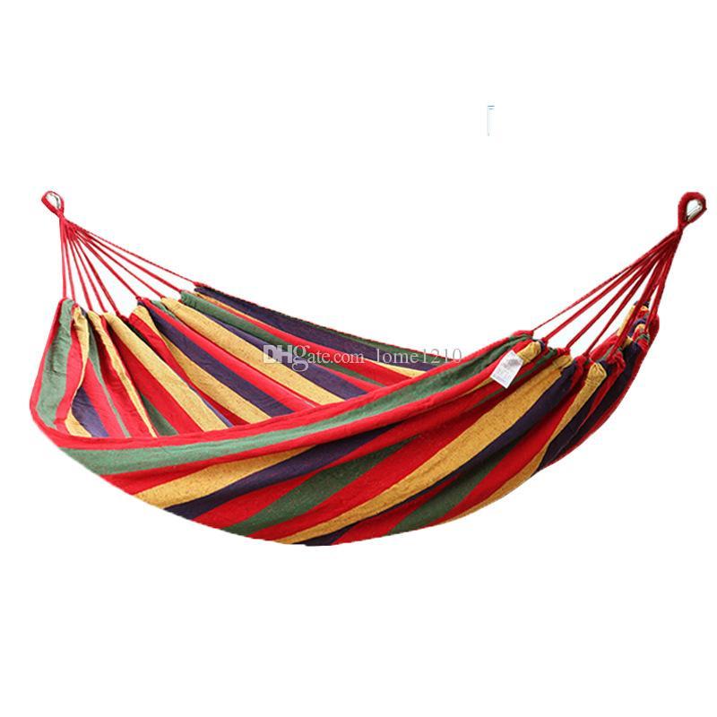 Yeni Marka Taşınabilir 120 KG Yük Taşıyan Bahçe Hamak Asmak Yatak Seyahat Kamp Salıncak Survival Açık Uyku Tulumları Tuval Şerit 190 * 80 cm