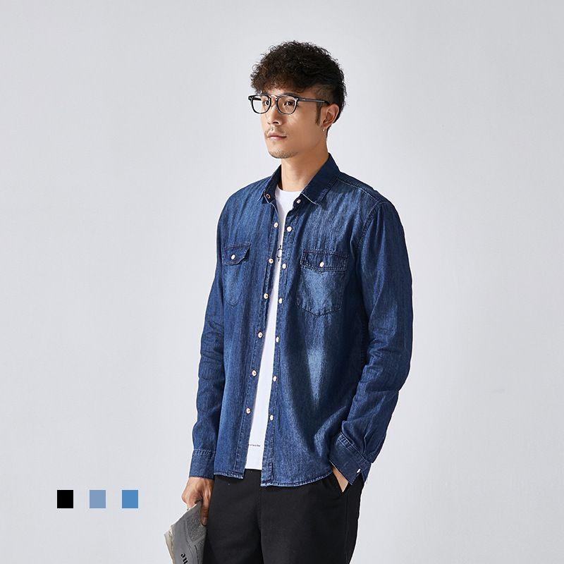 Spring New Arrival Mens 2 Pockets Denim Shirt Men Long Sleeve Slim Shirts Casual Jeans Tops Clothing Fashion Dress Shirt 2020