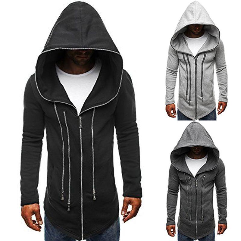 NEW Hot Men's Slim Black cloak Streetwear Hoodies & Sweatshirts Jacket Sweater Assassins creed Cardigan Jogger Sporting Coat men outwear