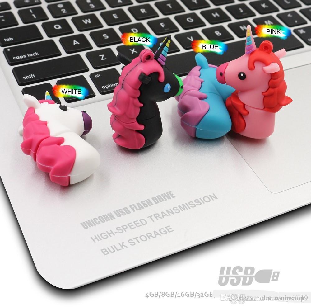 Amazing Unicorn Silicone USB Flash Drive 32GB 64GB Pendrive 16GB 8GB Waterproof Pen Drive USB 2.0 USB Disk Memory Stick Flash Drive