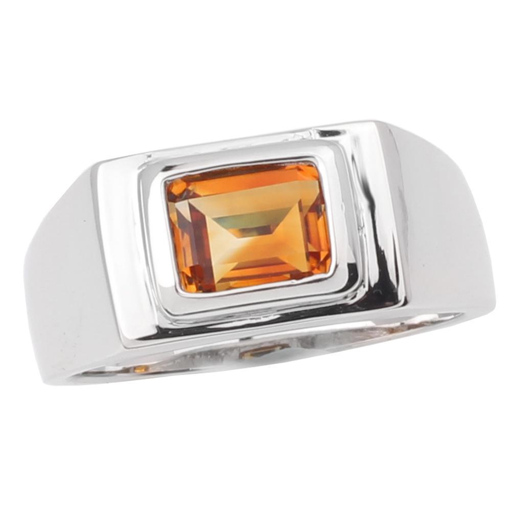 Giallo naturale Uomini Anello citrino 925 gioielli in argento Sterling smeraldo cristallo gemma taglio 7x9mm novembre Birthstone regalo di compleanno R509GCN