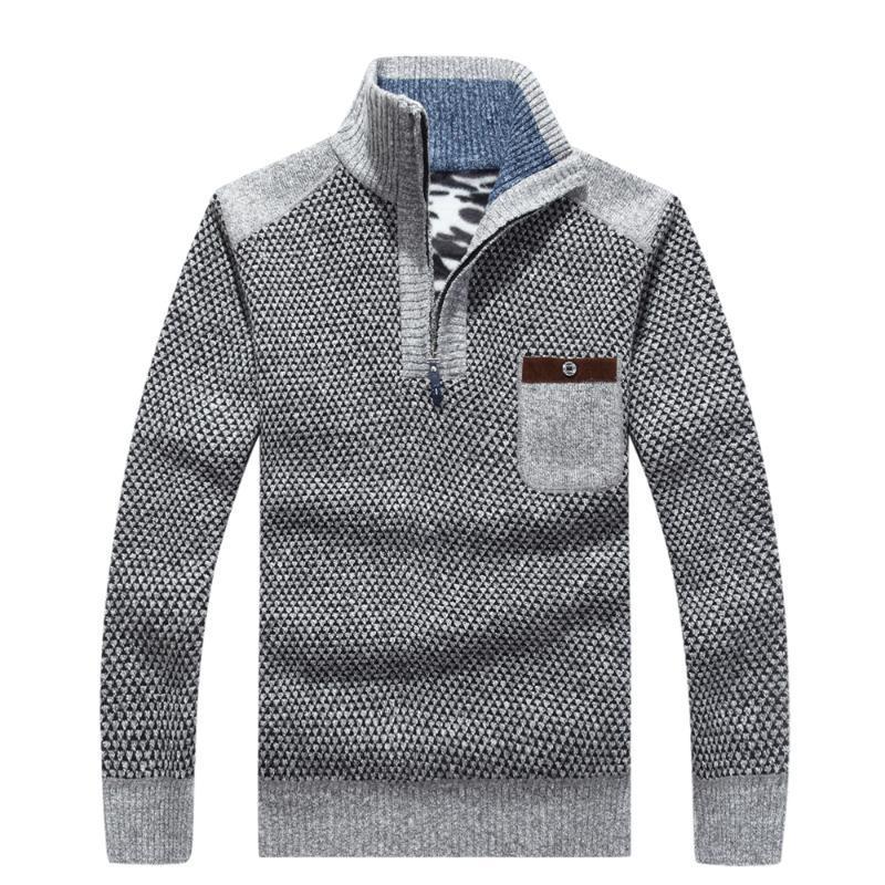 Новая мода толстые свитера пуловер пальто тонкий водолазка мужчины молния зима теплая деловой стиль вязать hombre