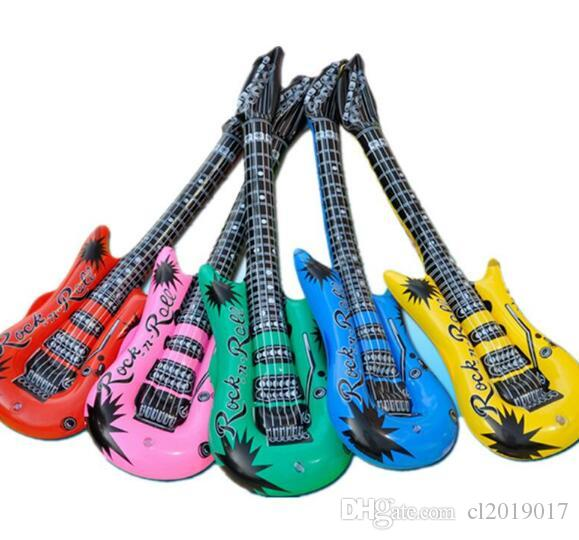Neon Inflatable Blow Up Guitars Fancy Dress Party Prop Musical Disco Rock