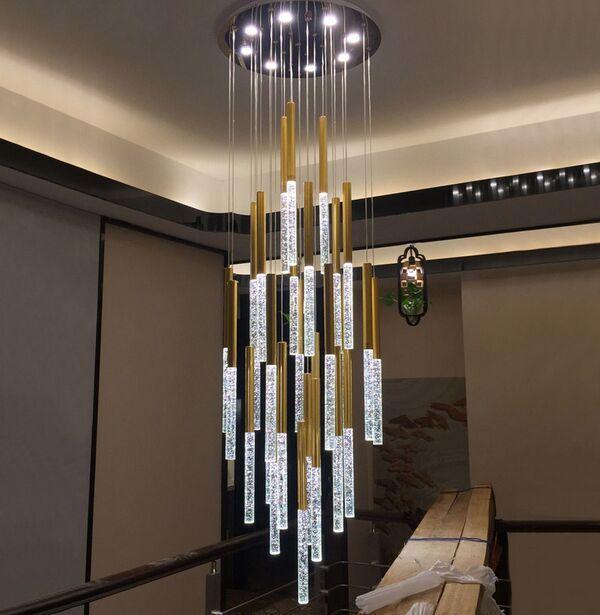 LED pingente luzes escandinavos loft escadaria de cristal lâmpada nórdic arte criativa restaurante de ouro longos candelabros