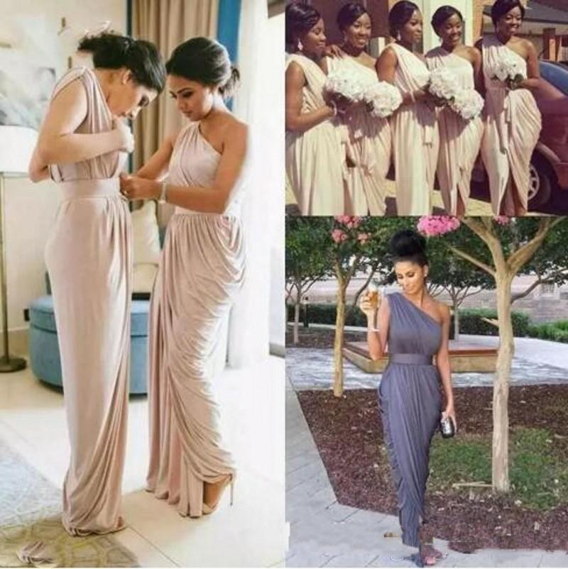 저렴한 하녀 명예 드레스 회색 하나 어깨 쉬폰 긴 싼 신부 들러리 드레스 여성 분할 저녁 댄스 파티 가운 BM0635