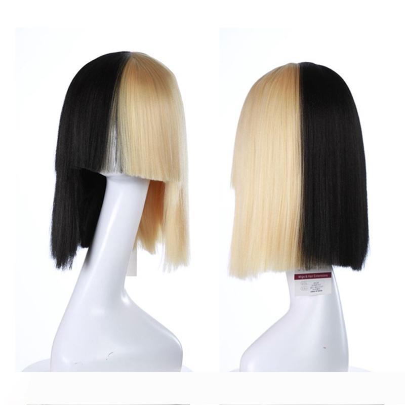 SIA perruques cosplay perruques synthétiques blonds et Noirs Lisse synthétique résistant à la chaleur perruques mode femmes cheveux