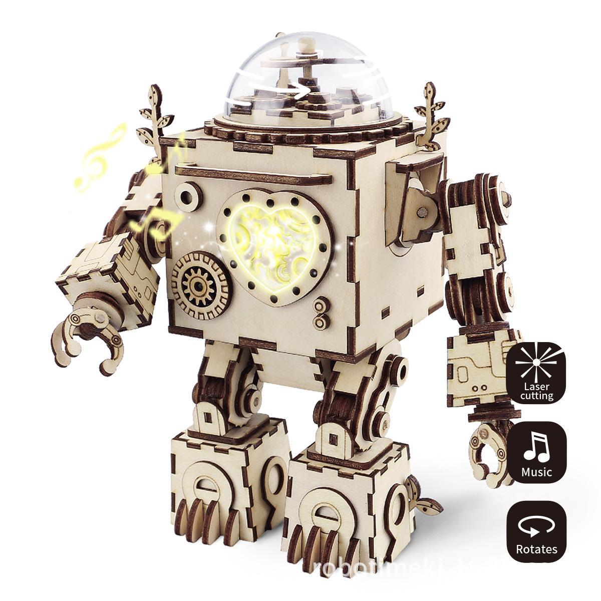 221Pcs puzzle toy Space exploration robot 3D model Music box Home decoration Perfect couple romantic gift Wooden children toy
