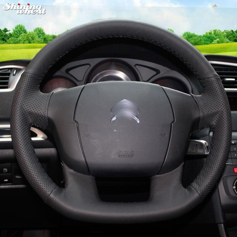 Shining Wheat Hand -Stitched Black Leather Steering Wheel Cover For C4 C4l C4 L New