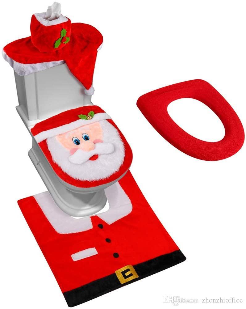 3D Nariz de Santa asiento de inodoro cubierta divertido decoraciones de Navidad baño conjunto de 5