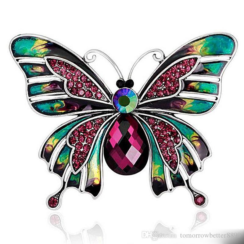 Schmetterlings-Brosche Kristall-Diamant-Pins Luxus-Designer-Broschen Zink-Legierung Strass Mode Frauen Insekt Pullover Pins Tuch Zubehör
