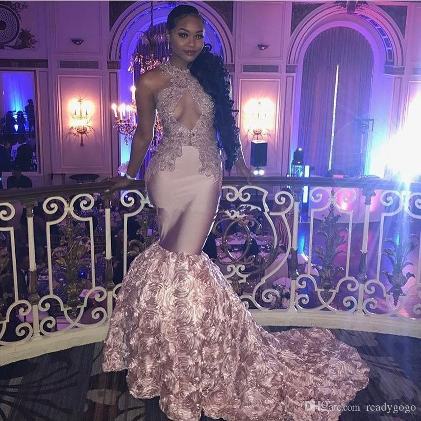 Nude Pink Sexy Mermaid Prom Formal Dresses Keyhole Neck 3D Rose Floral Train African Black Girl Occasion Evening Wear Gowns