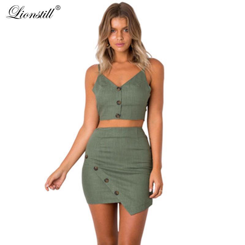 Kadın Eşofmanlar Lionstill 2021 Moda Lady Suit Kadınlar Saf Renk Rahat Iki Parçalı Kadın Yaz Splice Düğme Backless