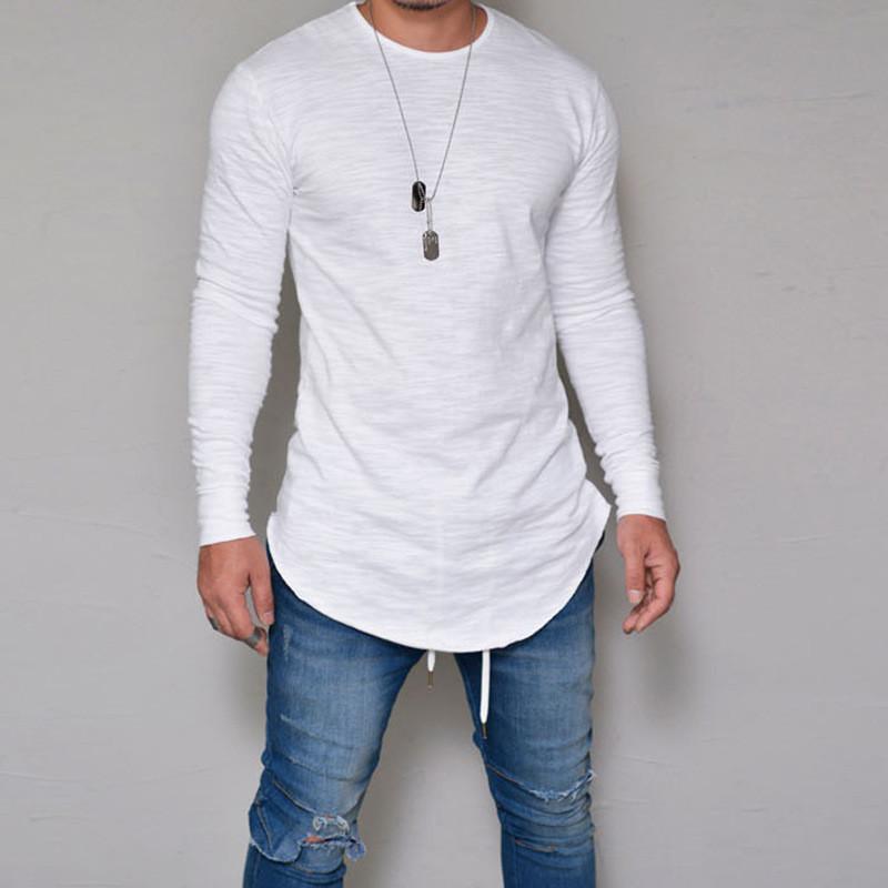 A maniche lunghe T-shirt divertente magliette degli uomini del cotone casuale maglietta Streetwear solido di colore Slim Fit abbigliamento fitness Mens Tee Shirts Top