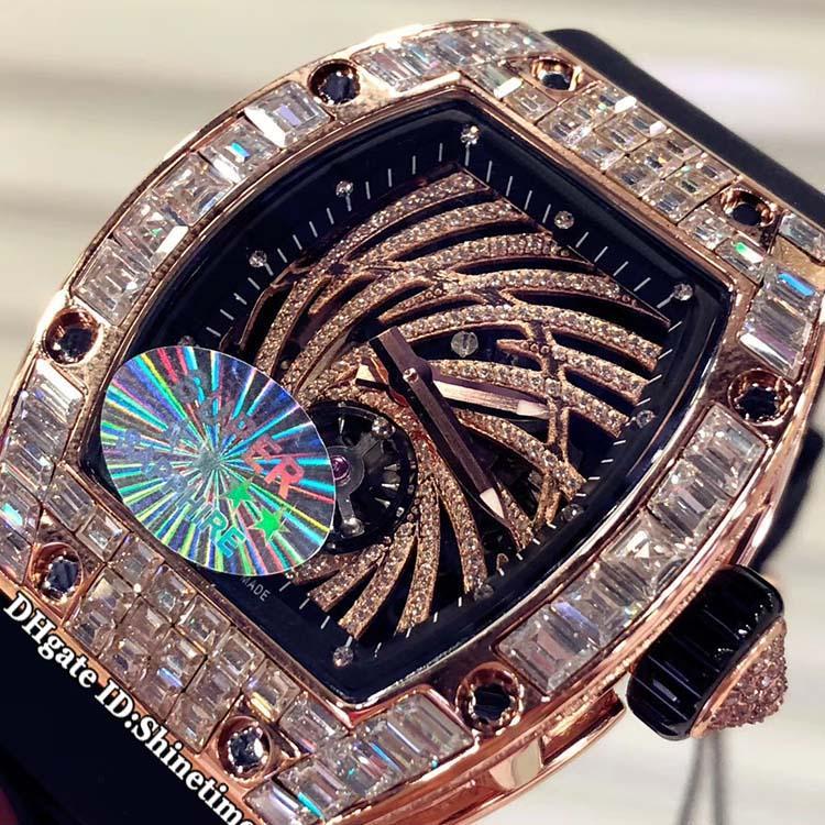 أفضل طبعة RM 51-02 الهاتفي الهيكل العظمي روز الذهب الكبير الماس حالة اليابان ميوتا التلقائية الرجال ووتش RM51-02 RM 51-2 المطاط الأسود حزام الساعات