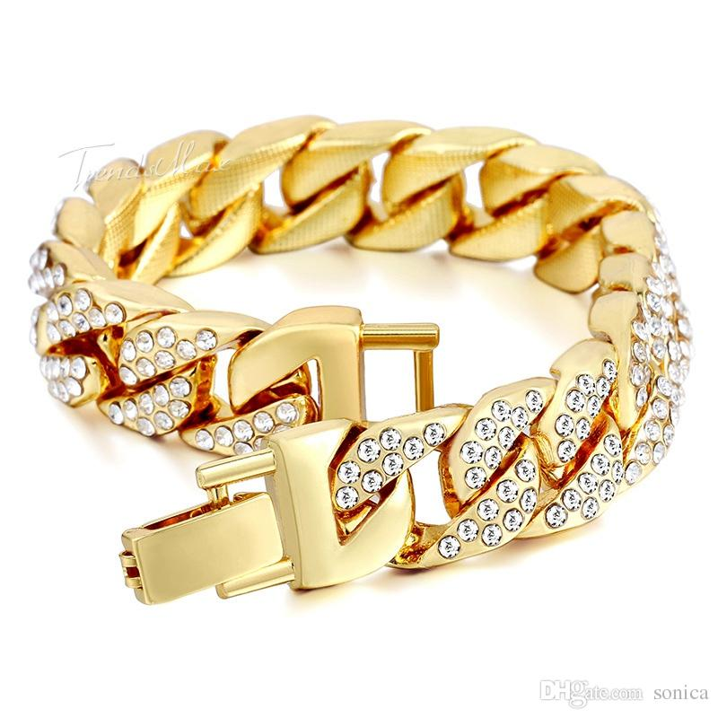 10pc/set Mens Womens Chain Hiphop Curb Bracelet Cuban Silver Gold Plated Bracelet with Clear Rhinestones for Gift