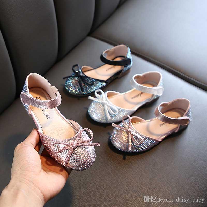 Девочек принцессы обувь девушки кожа обуви малышей весной и летом 2020 новых блестки девочек Плоский Детские Детские танцы Обувь Дети # 7